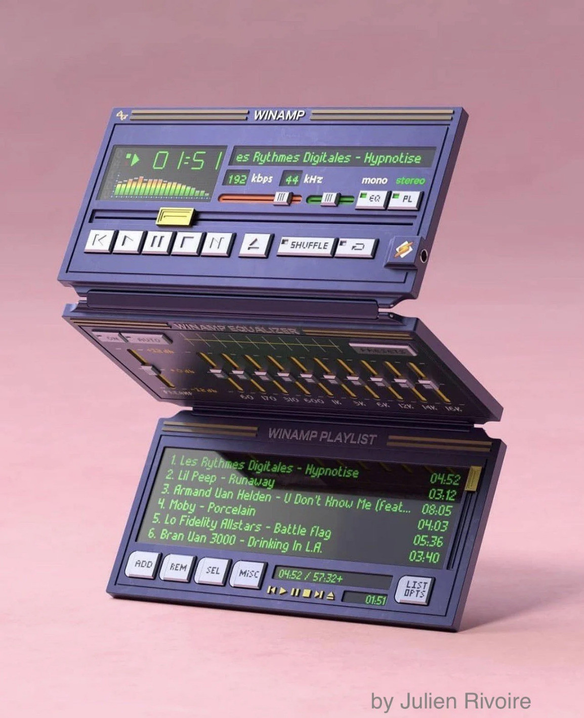 A mockup of a foldable device that is basically the classic Winamp player.